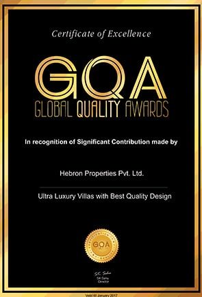 GQA AWARD FOR UBER LUXURY VILLAS WITH BEST QUALITY DESIGN